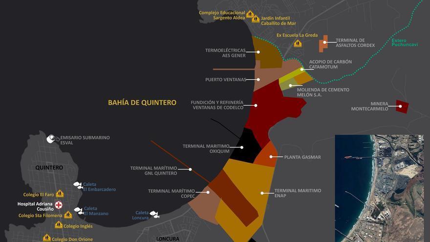 Mapa de la 'zona de sacrificio' de Quintero Puchuncaví, donde se señalan las plantas industriales y los colegios.