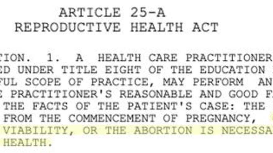 Ley de salud reproductiva aprobada en enero de 2019 en el estado de Nueva York.