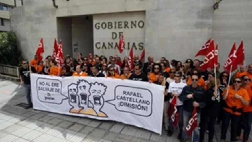 Fotografía de archivo de una protesta de los trabajadores de Gesplan ante el Gobierno de Canarias.