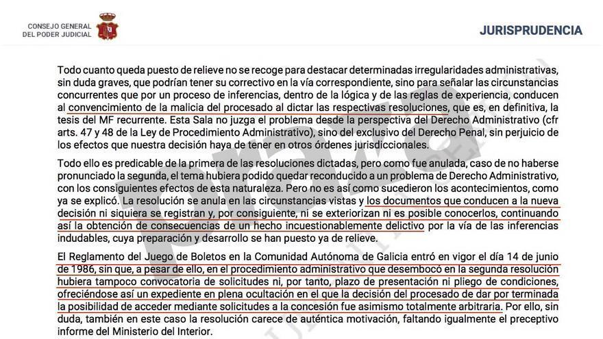 Fragmento de la condena a Barreiro Rivas por el Tribunal Supremo