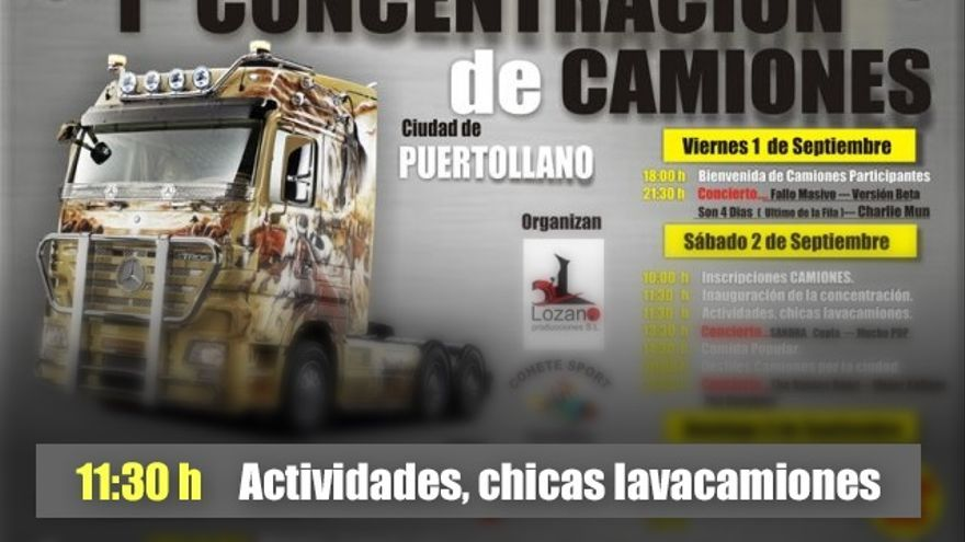 """Antiguo cartel de Cohete Sport con la actividad de """"chicas lavacamiones"""" / CMM Media"""