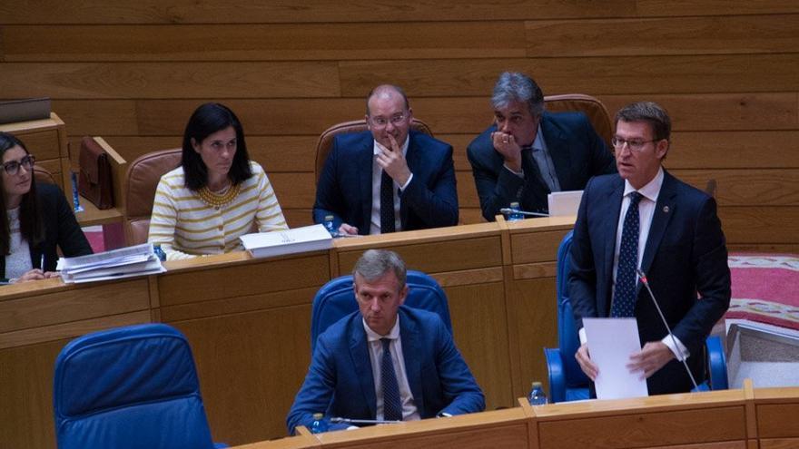 Feijóo, durante su intervención en el Parlamento de Galicia