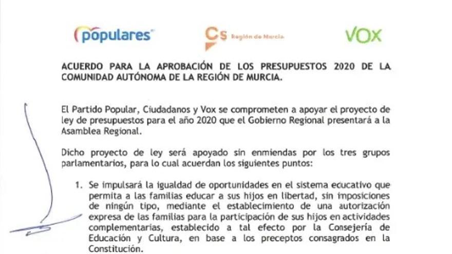 Referencia al 'pin parental' en el acuerdo presupuestario firmado por PP, Ciudadanos y Vox