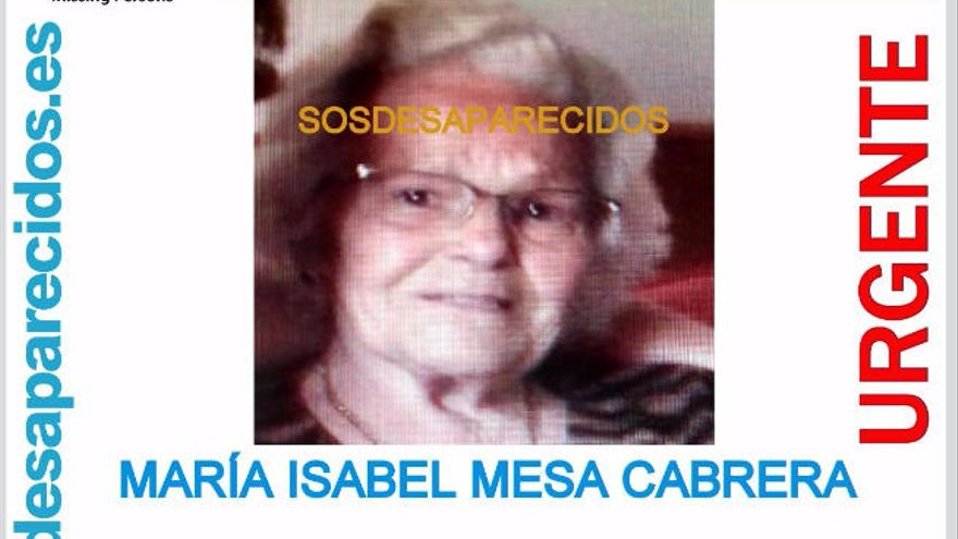 Cartel difundido tras la desaparición de María Isabel Mesa Cabrera