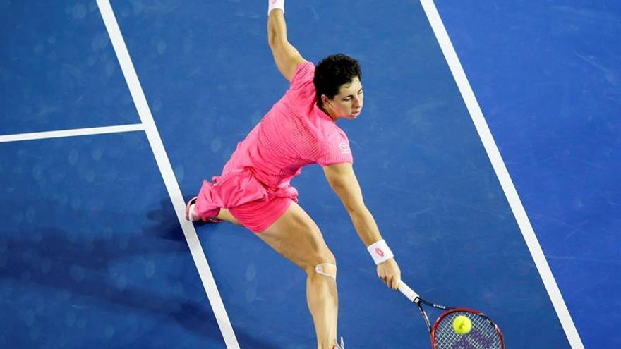 Carla Suárez celebró este domingo su pase a los cuartos de final del Abierto de Australia.