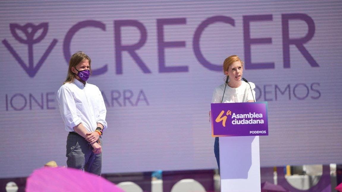 La futura secretaria de Organización de Podemos, Lilith Verstrynge, durante su discurso en el cierre de la IV Asamblea Ciudadana del partido el pasado fin de semana en Alcorcón (Madrid)