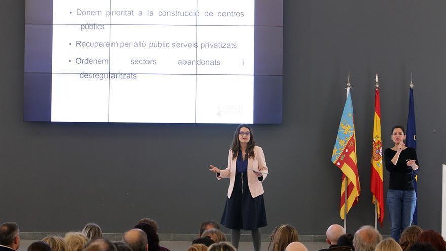 Mónica Oltra, durante la presentación del plan de su conselleria para el tercer sector de los servicios sociales.