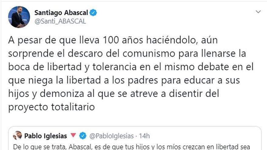 """Abascal se enzarza con Iglesias por el 'pin parental' y le reprocha que sus cargos """"abusan de menores"""" y apoyan el velo"""