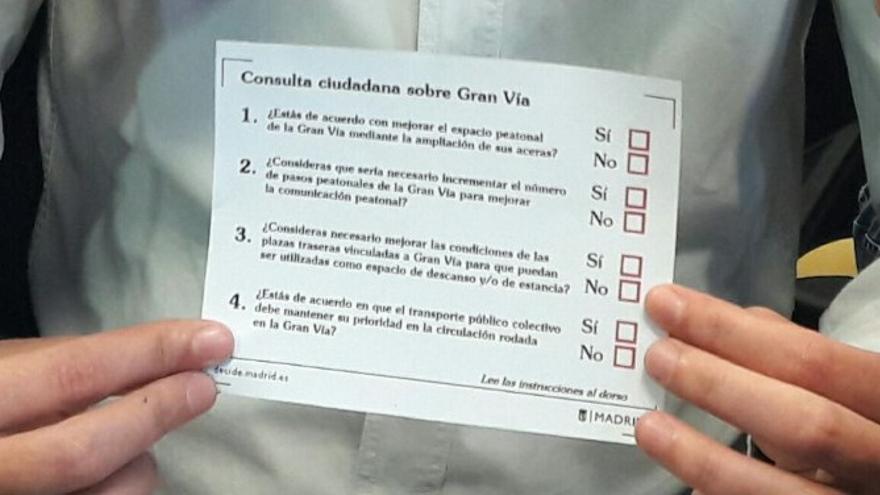 La papeleta con la que se podrá votar la ampliación de aceras en Gran Vía