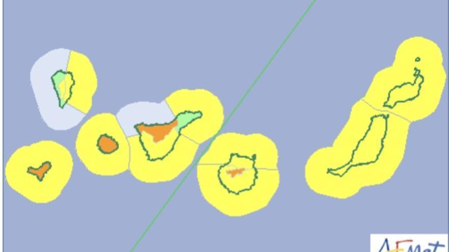 Mapa de la Aemet del riesgo por viento y oleaje para este martes.