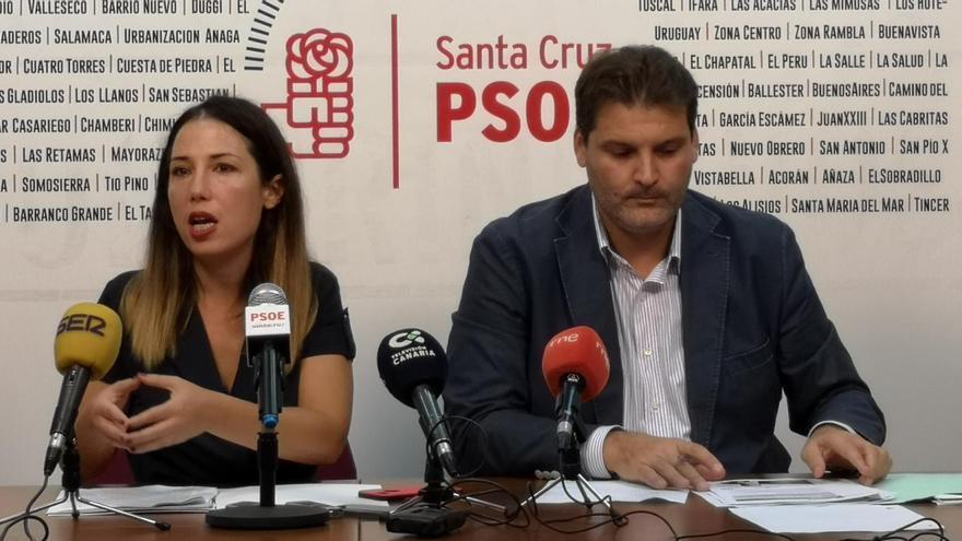 Patricia Hernández y José Ángel Martín, en la rueda de prensa de este miércoles en la capital tinerfeña
