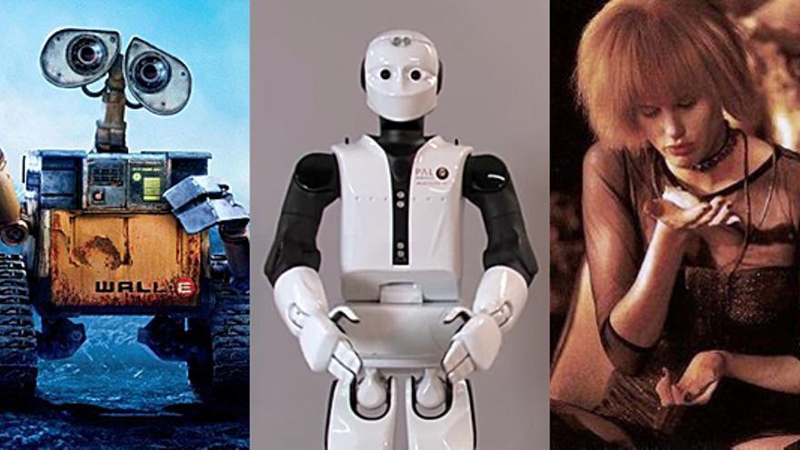 De izquierda a derecha, el robot de Pixar Wall-E, el robot REEM-C de PAL Robotics y un replicante de 'Blade Runner' (Foto: Pedro Weeber)