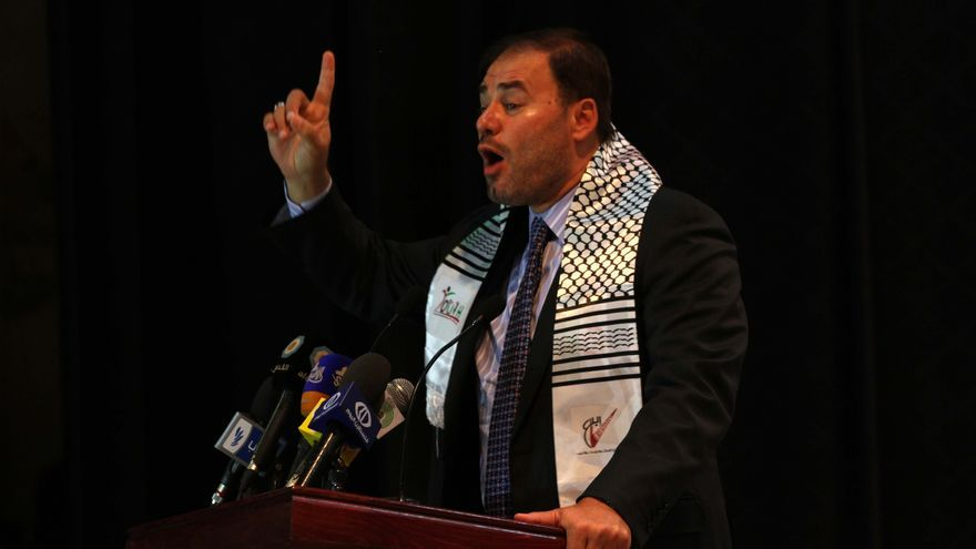 Wadah Khanfar en un discurso en la Franja de Gaza