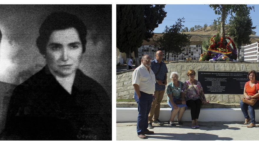 La familia de Lida Salgado junto a las fotos de sus padres, Francisco y Carmen. / JUAN MIGUEL BAQUERO