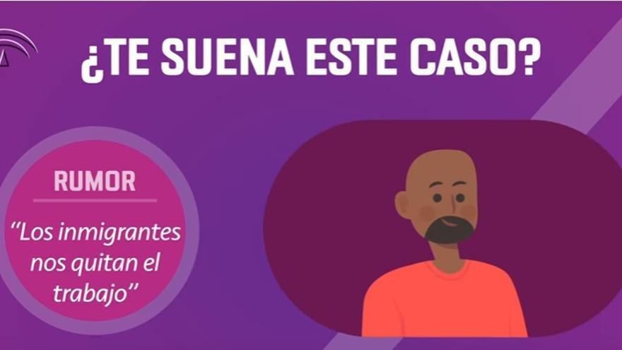 Pantallazo de la campaña anti-bulos contra los inmigrantes de la Junta de Andalucía.