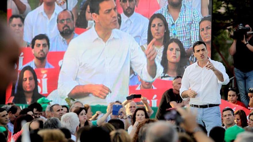 El candidato del PSOE, Pedro Sánchez, durante un mitin