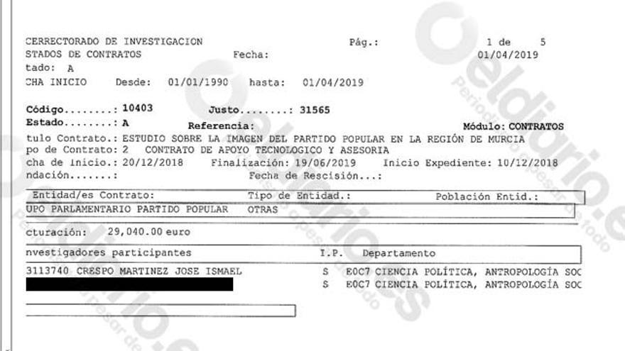 Extracto de la actividad laboral del catedrático Ismael Crespo