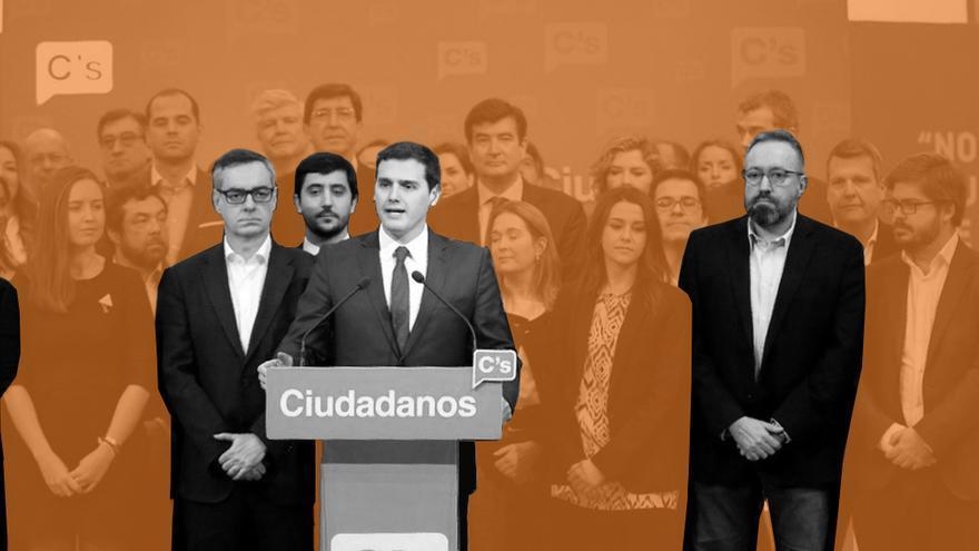 Los dimitidos Fernando de Páramo, José Manuel Villegas, Toni Roldán, Albert Rivera y Juan Carlos Girauta.