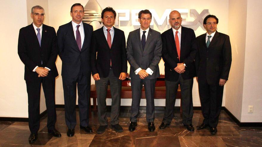 Carrera Panizzo -primero por la derecha-, Roa -a su lado- y Lozoya -a la derecha de Feijóo-, con el presidente gallego en México en 2014