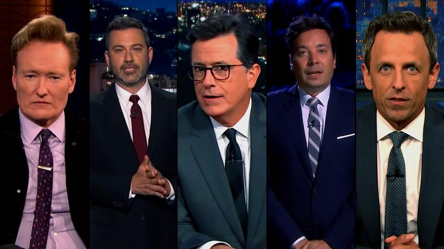 Conan O'Brien, Jimmy Kimmel, Stephen Colbert, Stephen Colbert, Jimmy Fallon y Seth Meyers