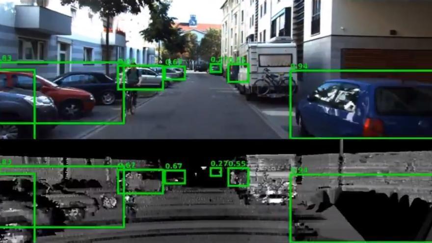 Un coche autónomo usando el LIDAR