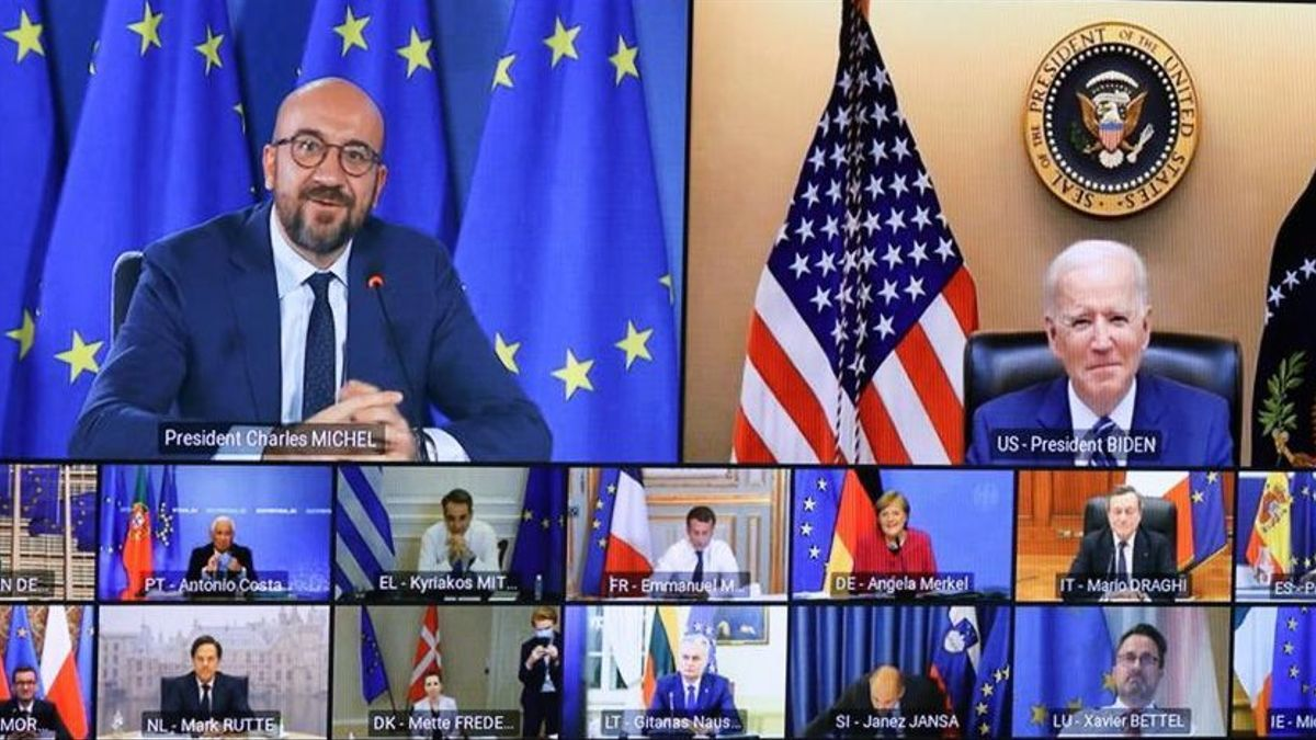 Intervención del presidente de EEUU, Joe Biden, en la cumbre de líderes de la UE, el 25 de marzo de 2020.