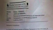 El hospital de La Paz reconoce internamente Urgencias saturadas