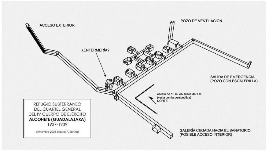Plano del refugio antiaéreo de Alcohete (Guadalajara)