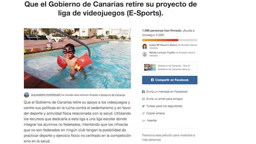 Captura de pantalla de la petición realizada en Change.org.