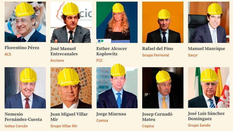 Los diez grupos constructores con más adjudicaciones, del proyecto '¿Quién cobra la obra?'