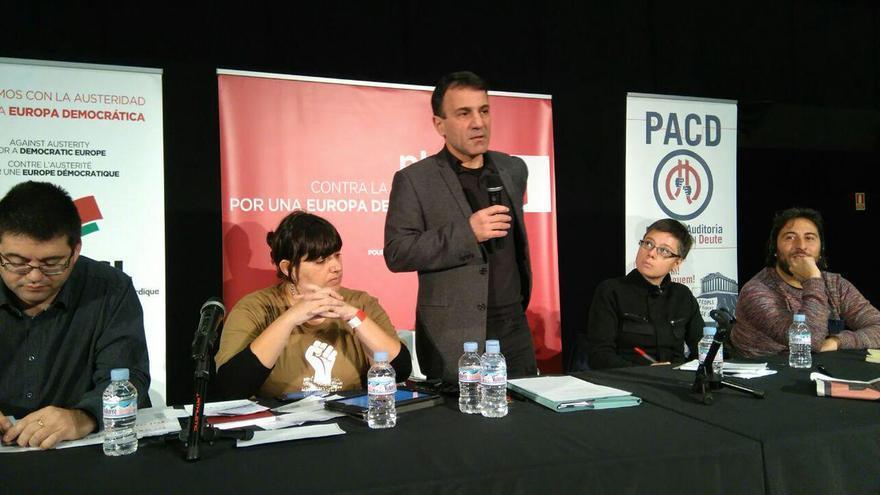 Costas Lapavitsas durante la presentación del Plan B en Madrid / Imagen de la cuenta de PACD Spain en Twitter