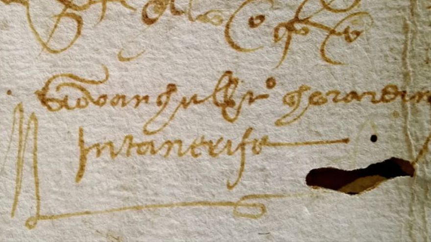 Firma de Giovangualberto Ghirardin (hermano de la Gioconda) en un documento notarial del siglo XVI