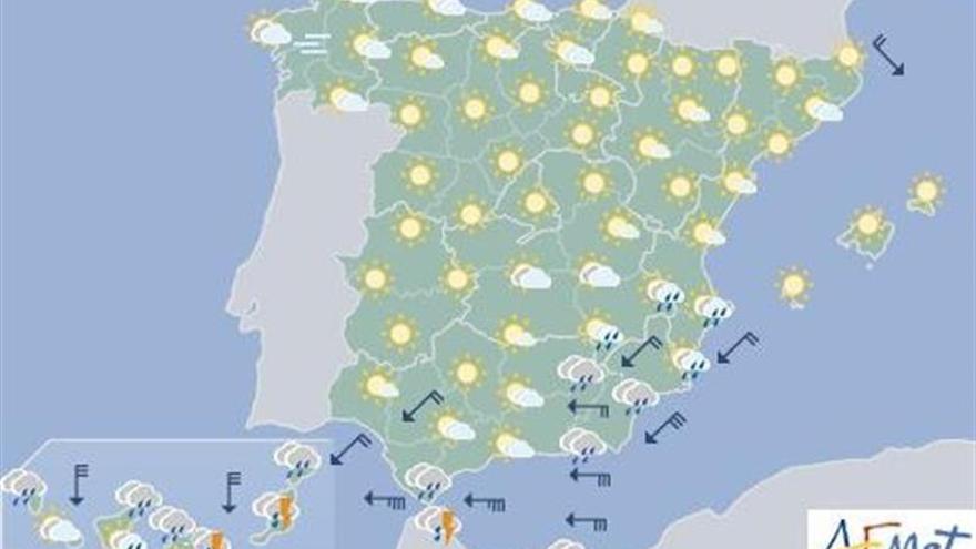 La Aemet prevé hoy lluvias fuertes en Canarias y viento en litoral sudeste