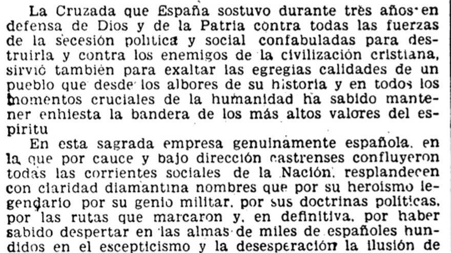 Decreto de 18 de julio de 1948 en el que Franco concedió sus primeros títulos nobiliarios a José Antonio Primo de Rivera, José Calvo Sotelo y los generales Mola y Moscardó.
