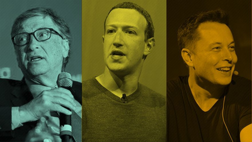 Bill Gates, Mark Zuckerberg y Elon Musk