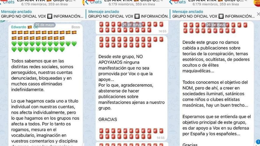 """Mensajes de los administradores del grupo de apoyo a Vox """"España Viva"""""""