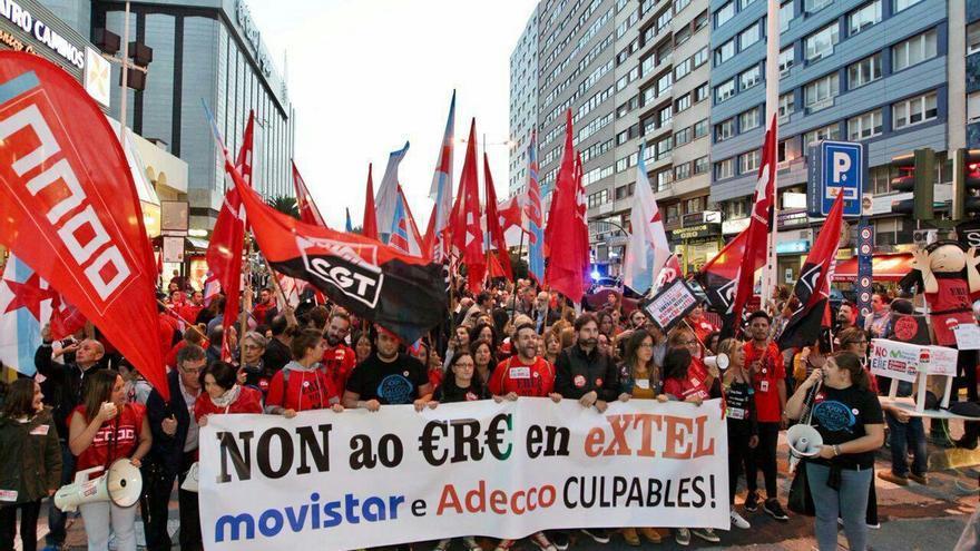 Movilización de la plantilla de Extel en A Coruña