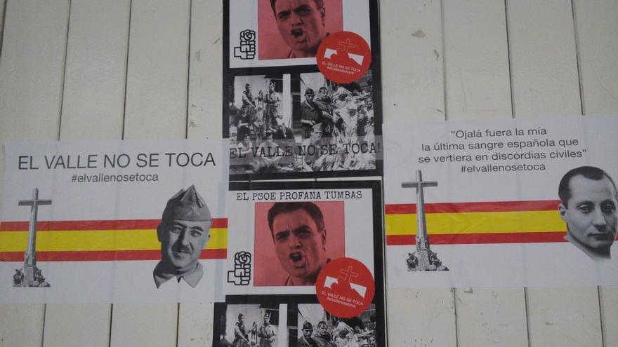 """""""El Valle no se toca"""" y """"¡¡Gracias Franco!!"""", así amanecen las sedes de PSOE y PP en la Región"""