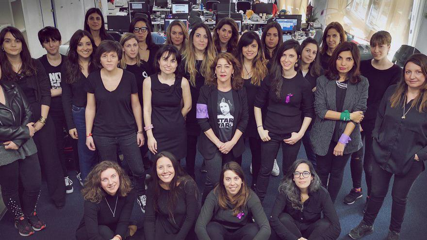 Las trabajadoras de eldiario.es, en una imagen tomada la semana pasada