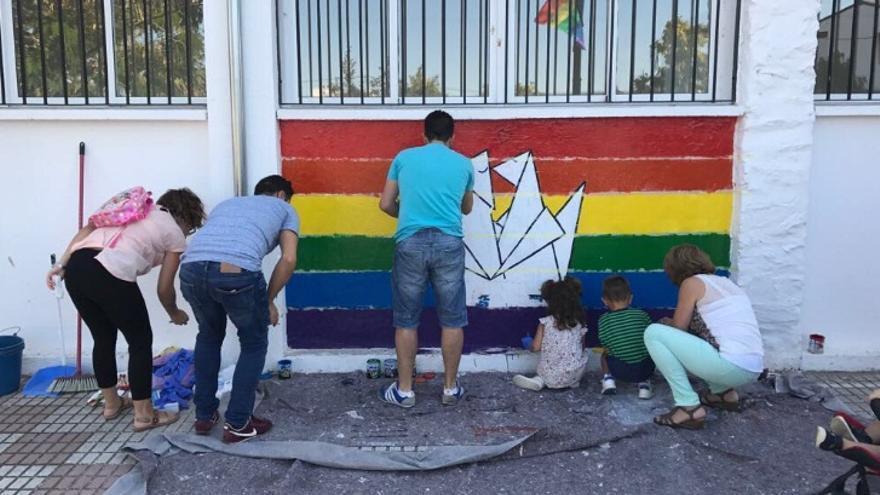 El mural apareció pintado de blanco / @Comision19M