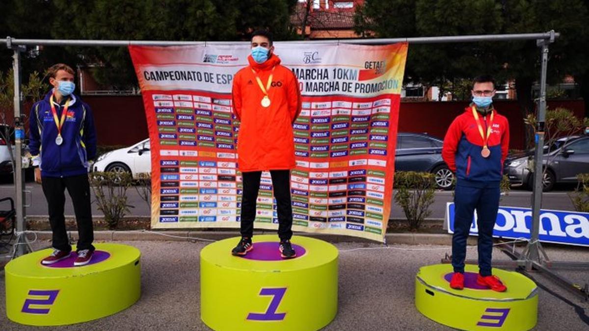 Aythamy Afonso, en el segundo escalón del podio.