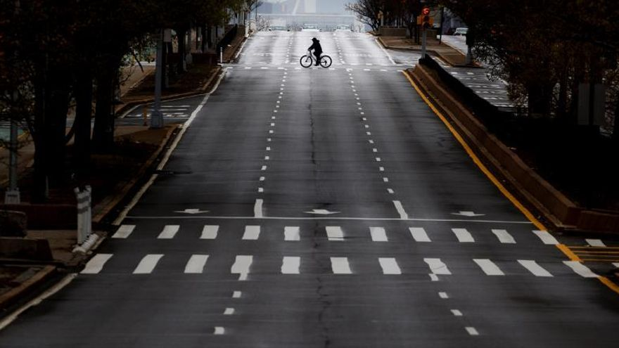 A bicyclist with a street to themselves in New York, New York, USA, on 26 April 2020.