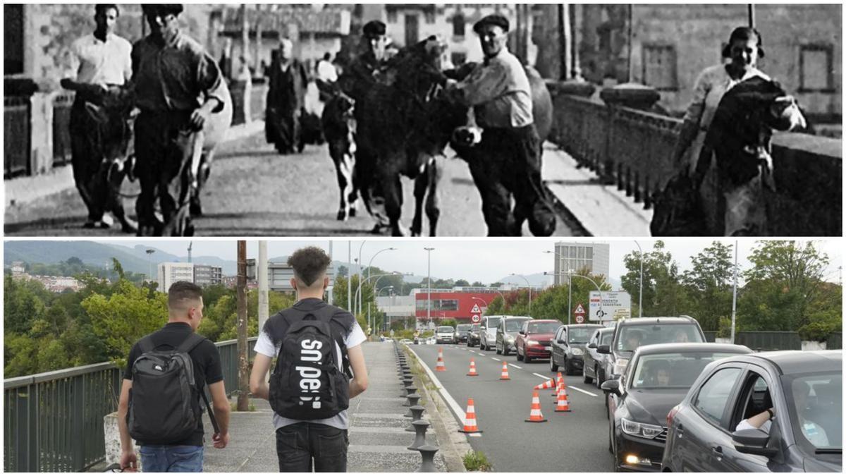 Arriba, vascos en 1936 cruzando el puente que une Irun con Hendaya, abajo, jóvenes en 2021 tratando de hacer lo mismo