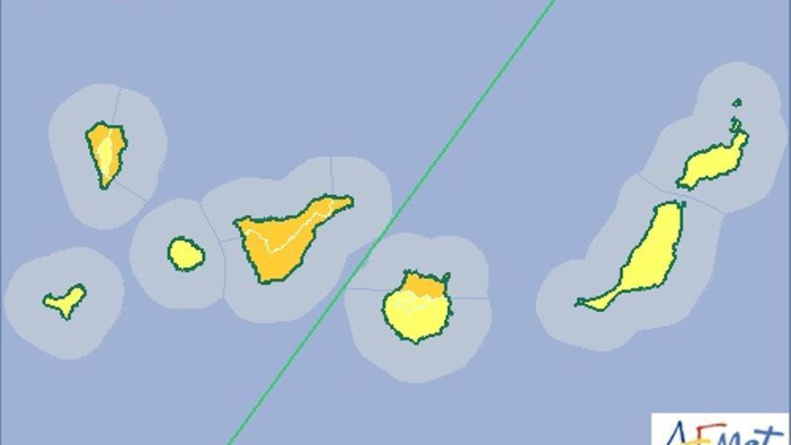 Mapa de la Aemet de aviso de riesgo por lluvias y tormentas para el miércoles, 18 de noviembre.