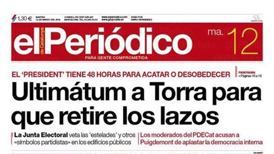 Portada de El Periódico de Catalunya