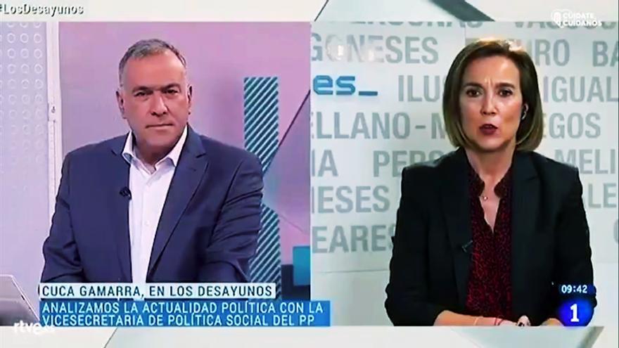 Xabier Fortes entrevistando a Cuca Gamarra en 'Los desayunos de TVE'