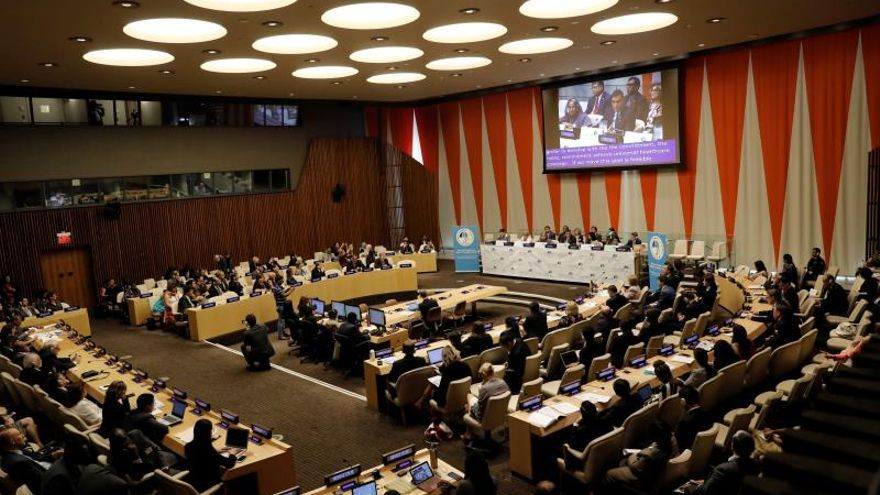 Pedro Sánchez (on screen), President of Spain speaks at a High-level meeting on universal health coverage, which is being held ahead of the General Debate of the General Assembly of the United Nations at United Nations Headquarters in New York, New York, USA, 23 September 2019.