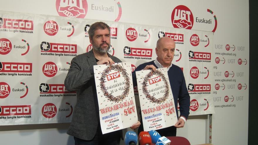 """CC.OO. y UGT Euskadi se concentraran el domingo contra """"el encarecimiento de la vida y la precariedad"""""""