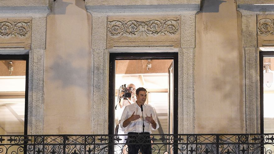 Pedro Sánchez durante las elecciones primarias para la Secretaría General del PSOE en Madrid.