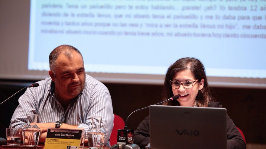 Yeray Rodríguez y Sarai Cruz durante su presentación conjunta